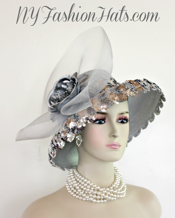 Women s Silver Grey Metallic Silver Wide Brim Fashion Designer Haute  Couture Hat Headpiece. This Ladies Dress Hat Is Trimmed With A Metallic  Silver And Grey ... 72e160d30bb