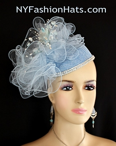 Baby Blue Rose Bud Rhinestone Sinamay Straw Wedding Bridal Fascinator, Cocktail Hats Brides Derby Formal