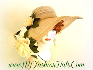Taupe Beige Soft Brown Tan Women's Designer Hat Ivory Roses 7QZB