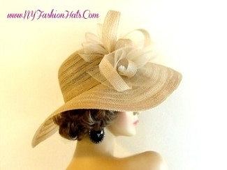 Camel Beige Wide Brim Designer Kentucky Derby Hat Pink NY Fashion Hats