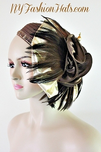 Designer Brown Satin Feather Metallic Gold Art Deco Flapper Hat Cocktail Hats Headdress