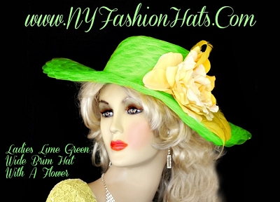 Women's Lime Green Designer Church Wedding Hat NY Fashion Hats YC98