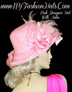 Ladies Pink Designer Hat Velvet Flowers Feathers Satin Edge Dress Hats