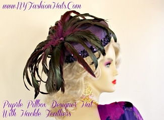 Women's Purple Designer Pillbox Hat With Feathers NY Fashion Hats 4KR