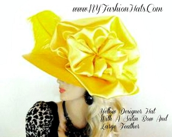 Ladies Yellow Wide Brim Designer Hat With A Satin Bow NY Fashion Hats