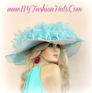 Turquoise Blue White Wide Brim Ladies Hat With Feathers Designer Hats QWG