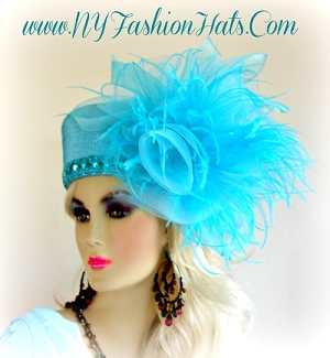 Turquoise Blue Pillbox Designer Fashion Wedding Tea Hat For Ladies GBN9