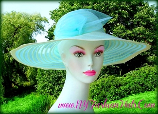 Turquoise Blue And Ivory Kentucky Derby Designer Hat Ladies Hats T67