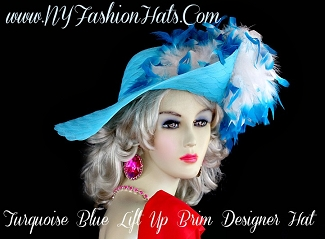 Ladies Turquoise Blue Hat With White Feathers, Designer Dress Hats