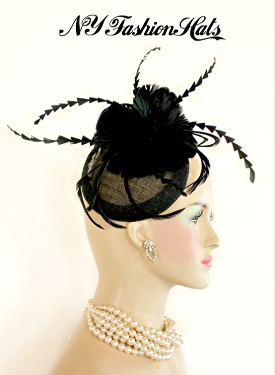 Women s Black Sinamay Straw And Feather Fashion Designer Haute Couture Hat  Headpiece Wedding Fascinator. Black Rooster Feathers Are Placed In A Double  ... e6ffe17a3800