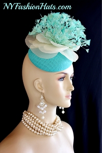 Women's Mint Green Ivory Aqua Sinamay Straw Feather Wedding Fascinator Bridal Headpiece Cocktail Hat, Designer Kentucky Derby Hats
