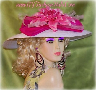 White Wide Brim Designer Hat With Pink Bow And Flowers Ladies Hats 7K
