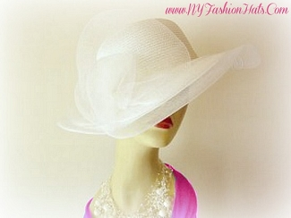Women's White Wide Brim Designer Church Bridal Hat Formal Hats HK78