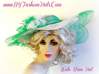 Kelly Green White Designer Kentucky Derby Spring Hat Ladies Hats 44T