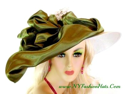 White Wide Brim Hat Olive Green Satin Bow Ladies Formal Hats 9QCP a856a5d1a53c