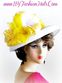 White Designer Formal Hat With Yellow Feathers Ladies Tea Hats 4RCP
