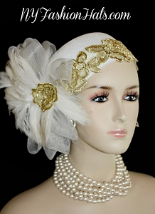 White Gold Designer Bridal Wedding Brides Headpiece Hat Cocktail Hats