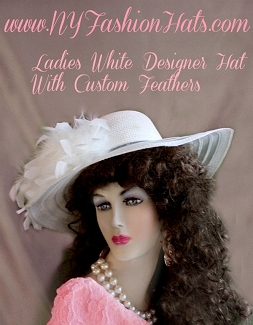 Women's White Kentucky Derby Wedding Hat With Feathers NY Fashion Hats