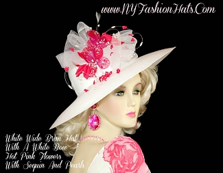 White Wedding Kentucky Derby Hat With Hot Pink Flowers NY Fashion Hats