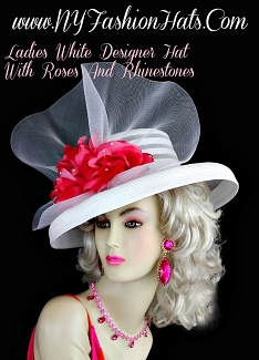 White Designer Formal Hat With Pink Roses Rhinestones, NY Fashion Hats