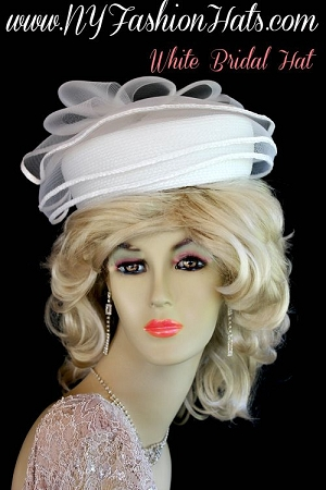 Ladies Designer White Pillbox Church Wedding Formal Hat Dress Hats U8