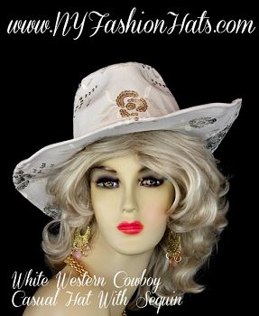 Ladies White Western Fashion Hat Sequin Embroidery Casual Cowboy Hats