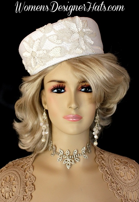 Las White Custom Made Pillbox Designer Fashion Wedding Hat This Dress Is Trimmed With Sequin Gl Beaded Pearl Fl Liques