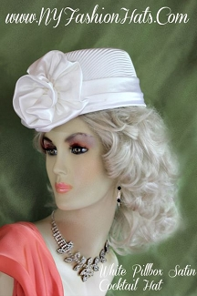 Ladies White Brides Satin Designer Church Hat Cocktail Formal Hats