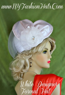 Ladies White Pillbox Designer Wedding Hat Organza Satin Church Hats