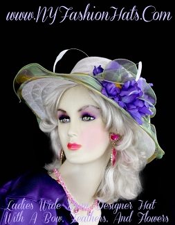 Women's White Green Purple Gold Designer Fashion Hat With Flowers
