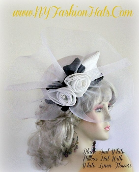 Women's White Pillbox Hat With Linen Roses And Black Ivy Leaves