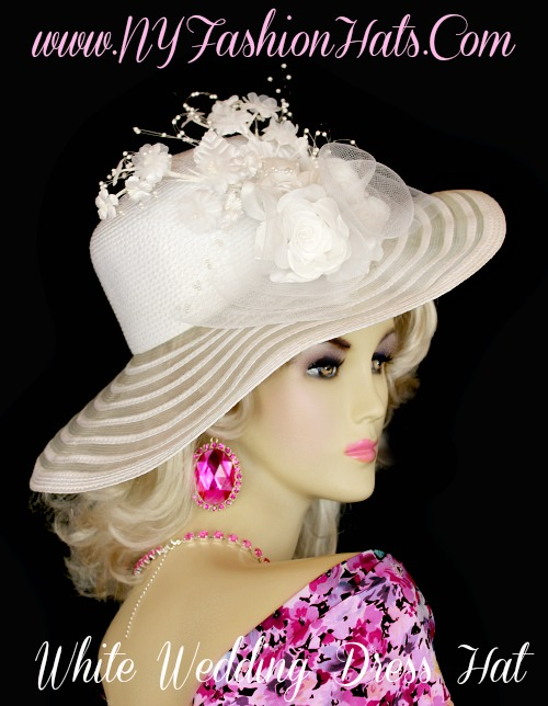 Women S Sheer Wide Brim Designer Wedding Bridal Hat With A Large White Bow Silk Roses Flowers And Pearls Customize This Fashion