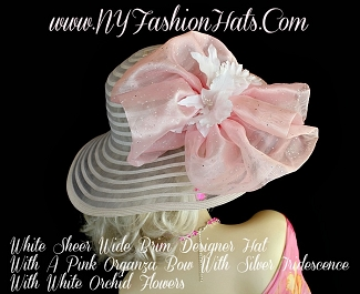 Ladies White Designer Hat For Spring With A Pink Bow White Orchids