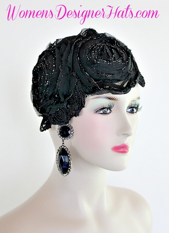 Black And Metallic Silver Couture Cocktail Formal Hat For Women. Hand Made  1920 s Flapper - Art Deco Era Designer Fashion Hat. This Designer Hat Is  Trimmed ... 815416b430e