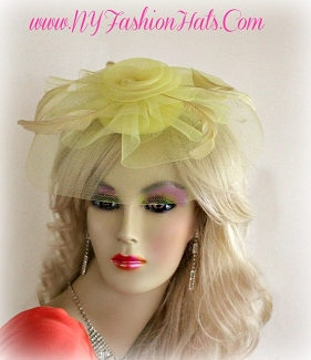 Ladies Yellow Wedding Bridal Cocktail Hat Fascinator Headpiece WB65