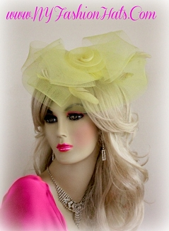 Women's Yellow Wedding Bridal Cocktail Hat Fascinator Headpiece VYU32