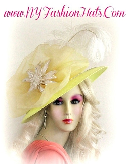 Ladies Woman Pastel Yellow White Sequin Flower Hat Designer Hats 554