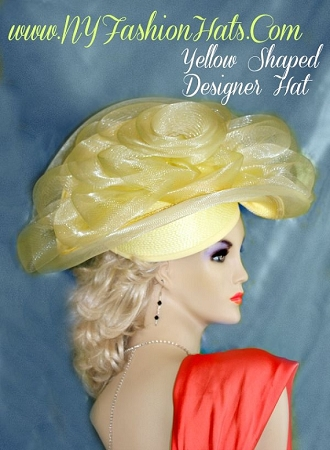 Pastel Yellow Designer Fashion Hat For Women Dress Hats NYFashionHats