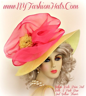 Ladies Yellow And Hot Pink Designer Wide Brim Flower Hat Spring Hats