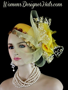 Yellow White Metallic Gold Couture Designer Pillbox Hat Cocktail Hat