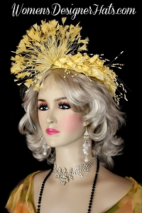 Yellow Satin Cocktail Hat Wedding Headpiece Women's Designer Hats
