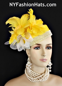 Yellow Rhinestone Feather Designer Pillbox Hat Cocktail Wedding Church Derby Hats