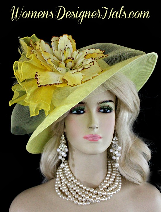 14bc7ae0802 Pale Yellow Wide Brimmed Kentucky Derby Designer Hat For Women. This Hand  Made Fashion Hat Is Trimmed With A Large Sheer Yellow Crinoline Bow Mixed  With A ...
