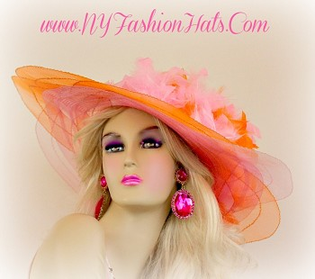 Pastel Pink And Orange Designer Hat With Feathers Wide Brim Hats 4HBZ
