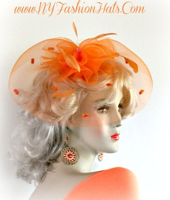 Orange Fascinator Cocktail Hat Bridal Wedding Headpiece Hair Accessory 9PND