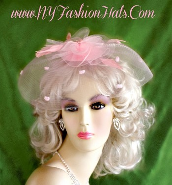 Pink Fascinator Cocktail Hat Bridal Wedding Headpiece Hair Accessory