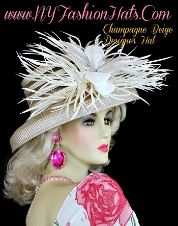 Champagne Beige Designer Kentucky Derby Hat With Feathers Flower Hats