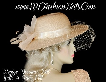 Women's Beige Tan Fashion Hat With A Netting Veil Designer Hats 2Q1