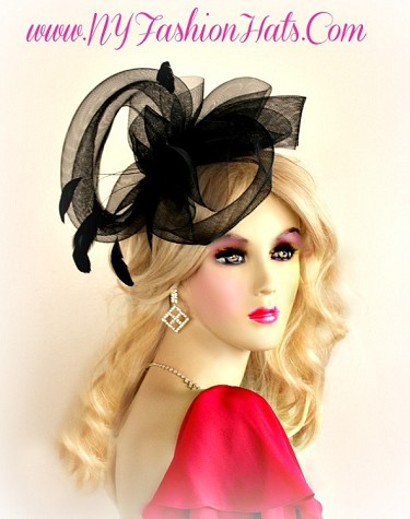 Ladies Black Designer Hairband Cocktail Headpiece Hat Funeral Hats T87