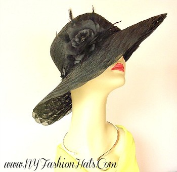 Black Wide Brim Designer Hat With A Rose Ladies Fashion Dress Hats Y6